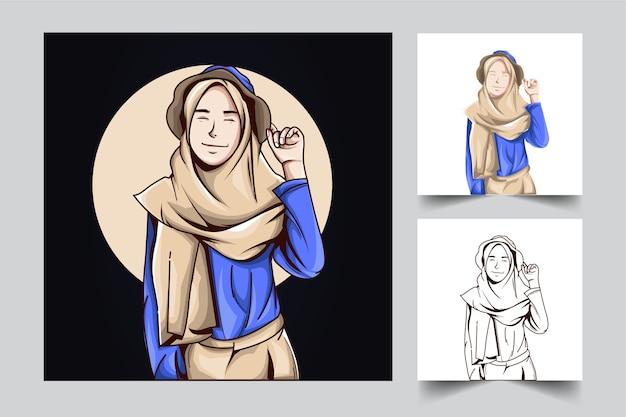 Création De Logo De Mascotte De Personnes Filles Avec Style Concept Illustration Moderne Pour Budge Vecteur Premium