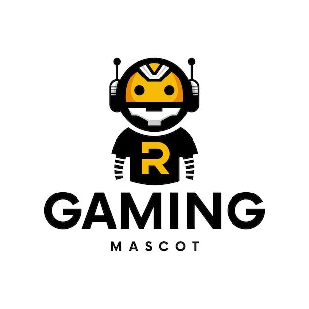 Création De Logo De Mascotte De Robot De Jeu Vecteur Premium