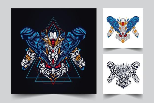 Création De Logo De Mascotte Robotique Gundam Avec Style Concept Illustration Moderne Pour Budge, Emblème Vecteur Premium