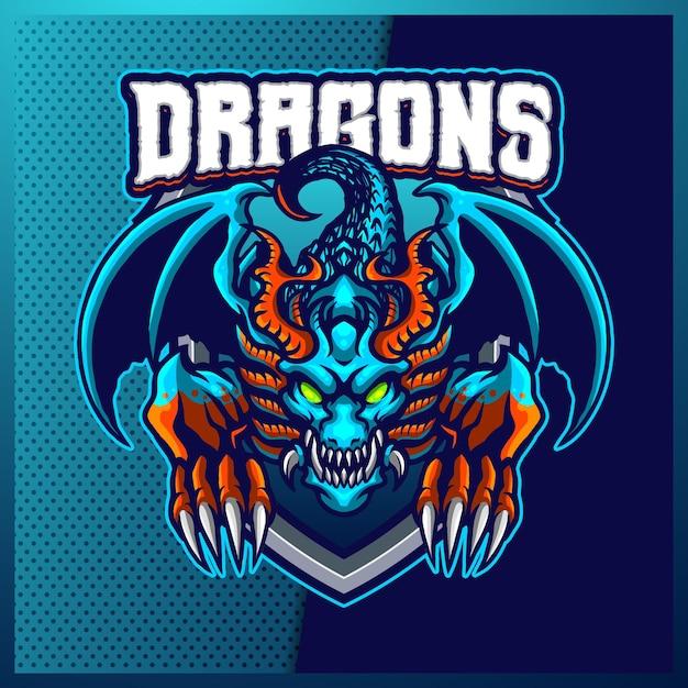 Création De Logo Mascotte Sport Et Esport Blue Dragons Avec Illustration Moderne. Illustration De L'hydre Vecteur Premium