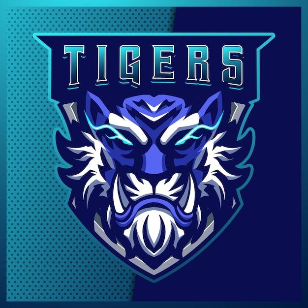 Création De Logo Mascotte Sport Et Esport Blue Tigers Avec Illustration Moderne. Illustration De Tigres En Colère Vecteur Premium