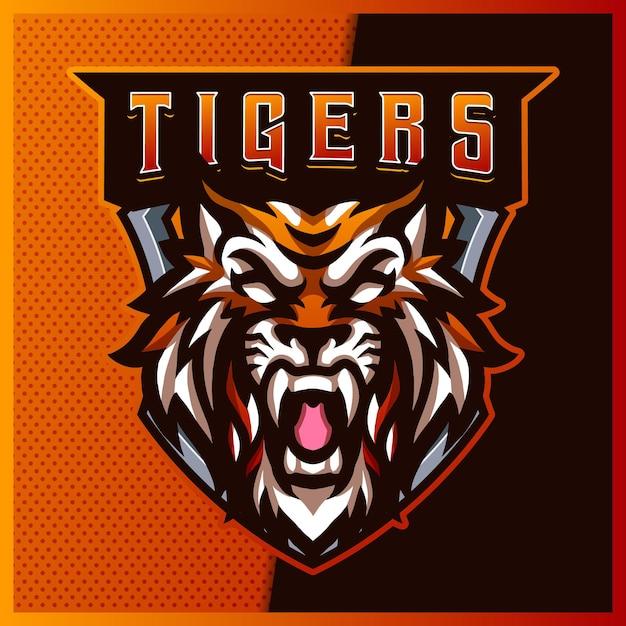 Création De Logo Mascotte Sport Et Esport Mad Tigers Avec Illustration Moderne. Illustration De Mad Tigers Vecteur Premium