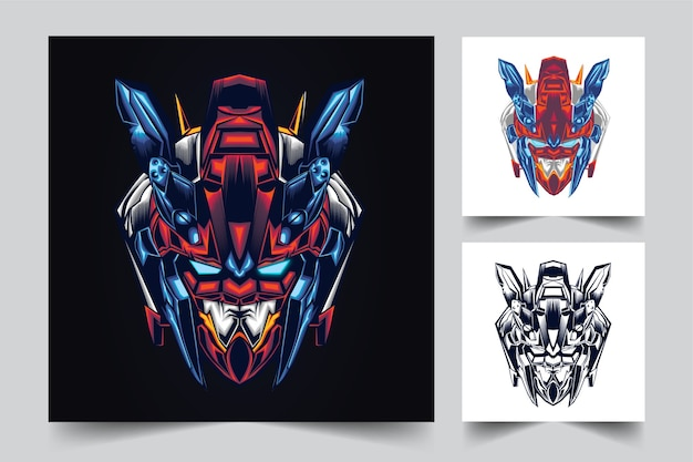 Création De Logo De Mascotte Tête Gundam Avec Style Concept Illustration Moderne Pour Budge, Emblème Vecteur Premium