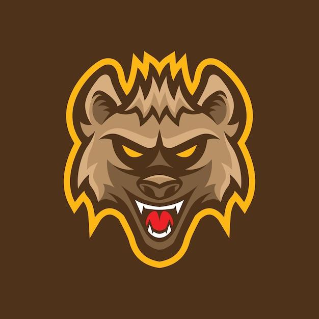 Création De Logo De Mascotte Tête Hyène Vecteur Premium