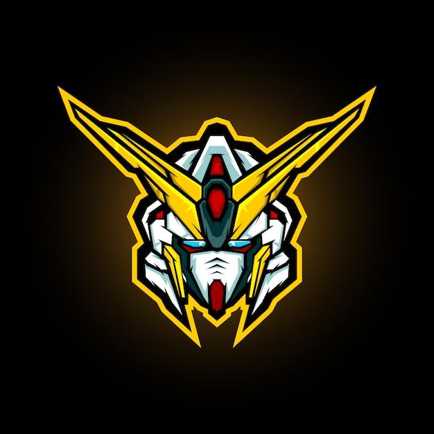 Création De Logo De Mascotte Tête Robotique Vecteur Premium