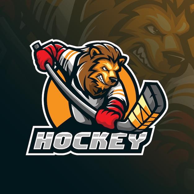 Création De Logo De Mascotte De Vecteur De Hockey Avec Illustration Moderne Vecteur Premium