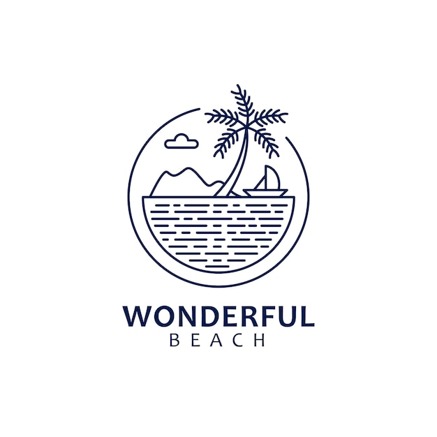 Création de logo monoline avec thème de nature et forme de paysage de plage Vecteur Premium