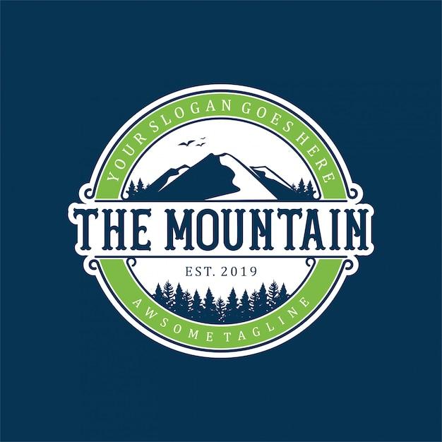 Création de logo de montagne simple et moderne Vecteur Premium