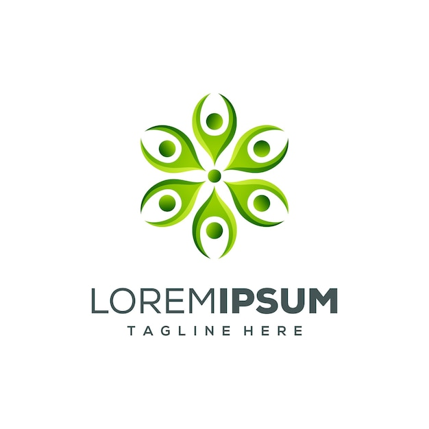Création de logo personnes vert Vecteur Premium
