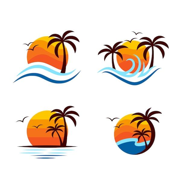 Création de logo de plage Vecteur Premium