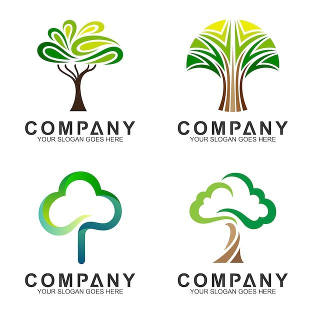 Création de logo plat arbre minimaliste Vecteur Premium