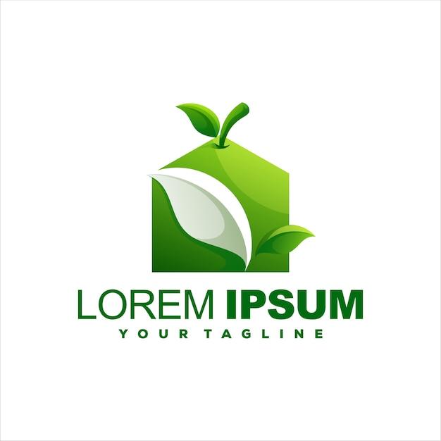 Création De Logo Pomme Maison Verte Vecteur Premium