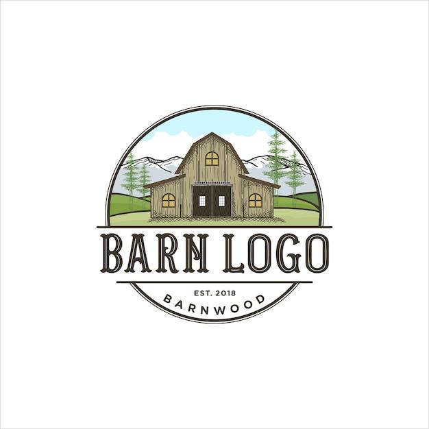 Création de logo pour bois de grange Vecteur Premium