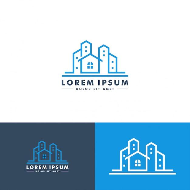Création de logo pour la construction de maisons Vecteur Premium