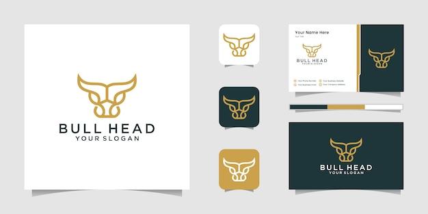 Création De Logo Premium Bifteck De Vache Abstraite. Ligne Créative De Cornes De Taureau Et Carte De Visite Vecteur Premium