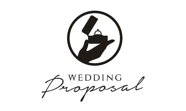 Création De Logo De Proposition De Mariage / Mariage Vecteur Premium
