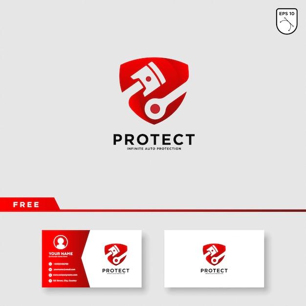 Création de logo de protection de voiture Vecteur Premium