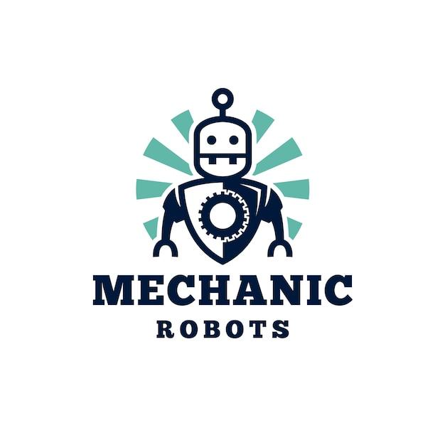 Création De Logo De Robot Mécanicien Rétro Vecteur Premium