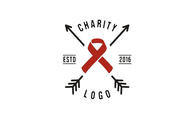 Création de logo ruban et flèche pour la charité Vecteur Premium