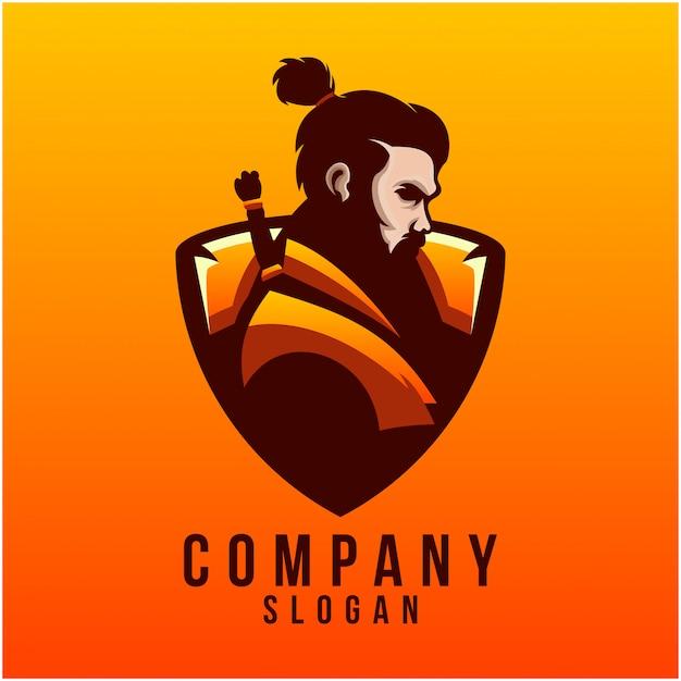 Création de logo samouraï Vecteur Premium