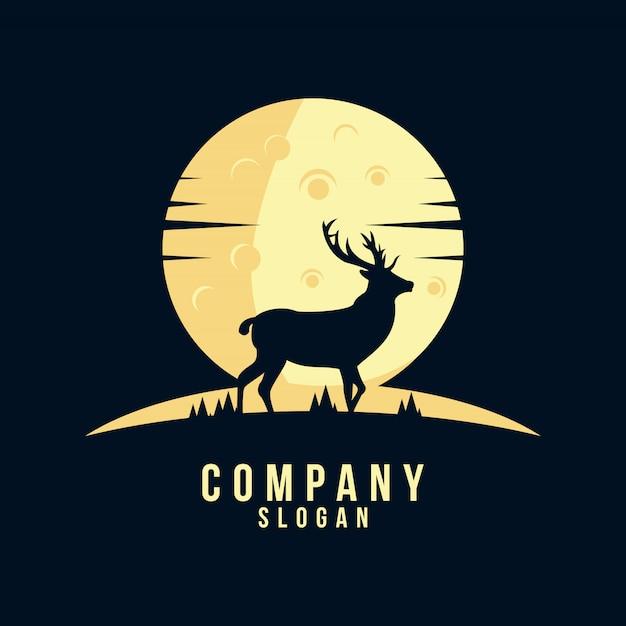 Création de logo silhouette de cerf Vecteur Premium