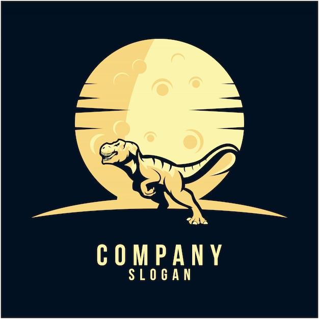 Création de logo silhouette t-rex Vecteur Premium