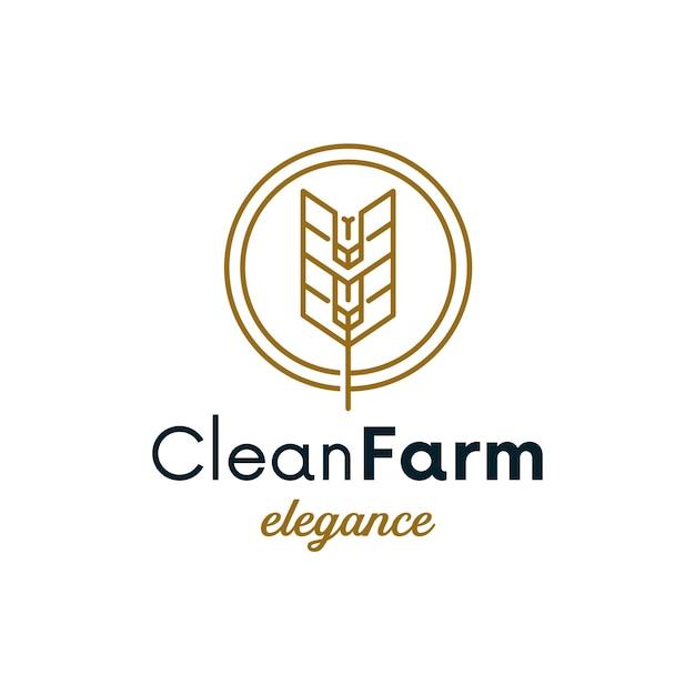 Création De Logo Simple Cercle De Blé Vecteur Premium