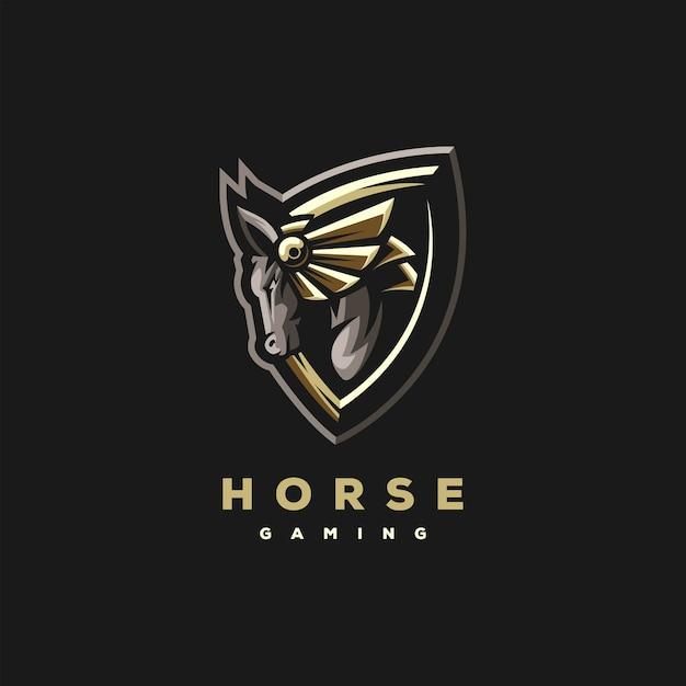 Création De Logo De Sports De Jeux De Chevaux Vecteur Premium
