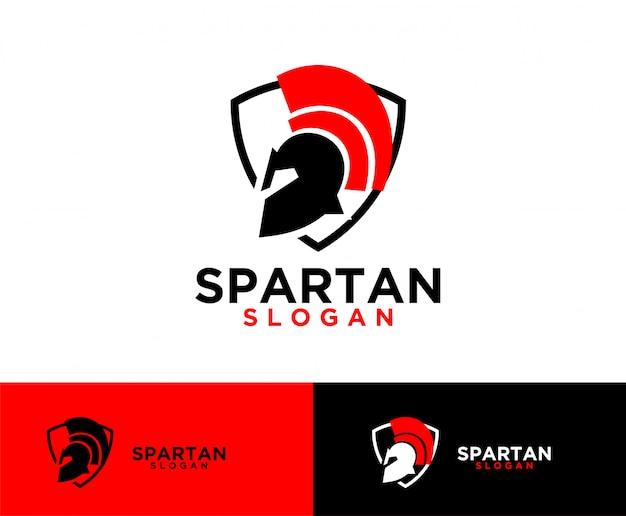Création de logo symbole bouclier sparta Vecteur Premium