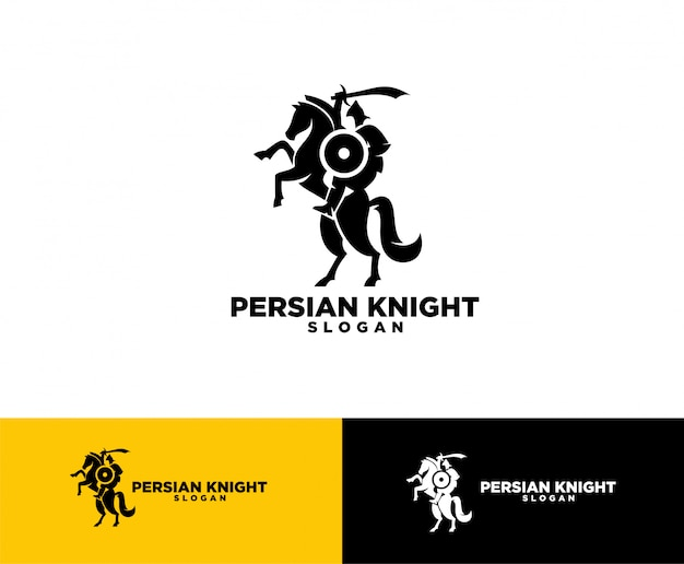 Création de logo symbole chevalier persan Vecteur Premium