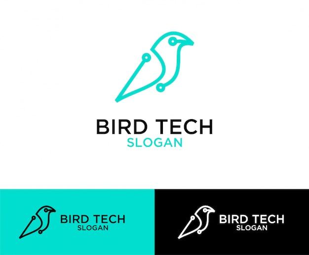 Création de logo symbole tech oiseau Vecteur Premium