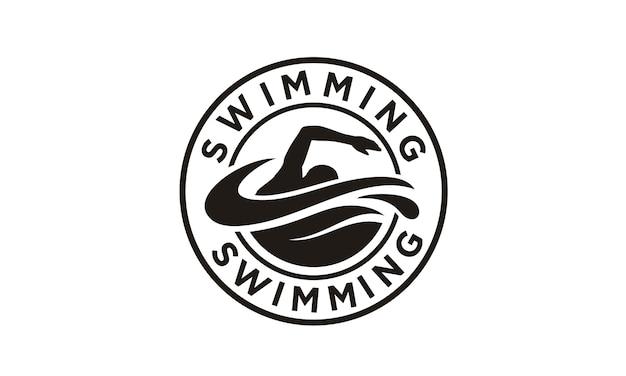 Création de logo de tampon de natation Vecteur Premium