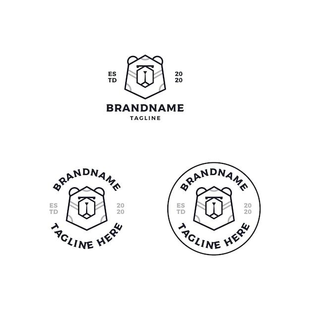 Création De Logo Tête D'ours Vecteur Premium