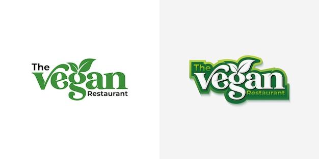 Création De Logo De Typographie Vegan Vecteur Premium
