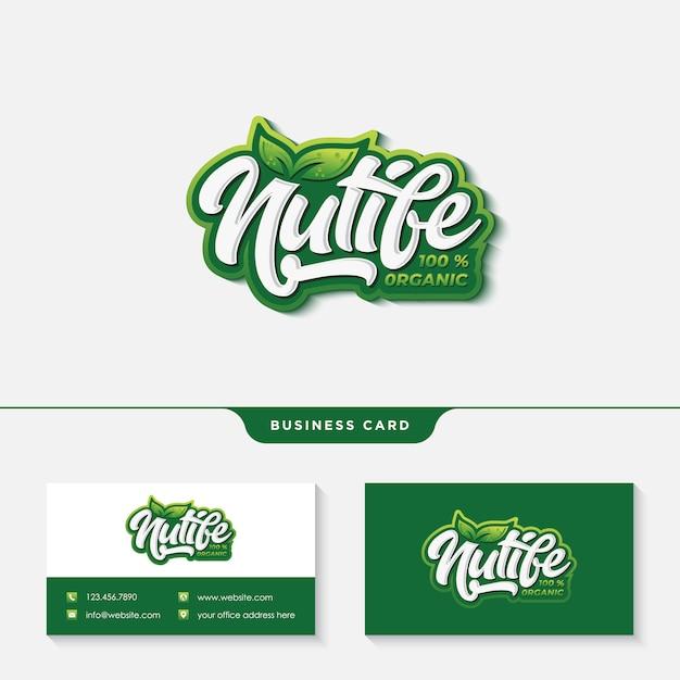 Création de logo de typographie vie nutrition avec gabarit de carte de visite Vecteur Premium