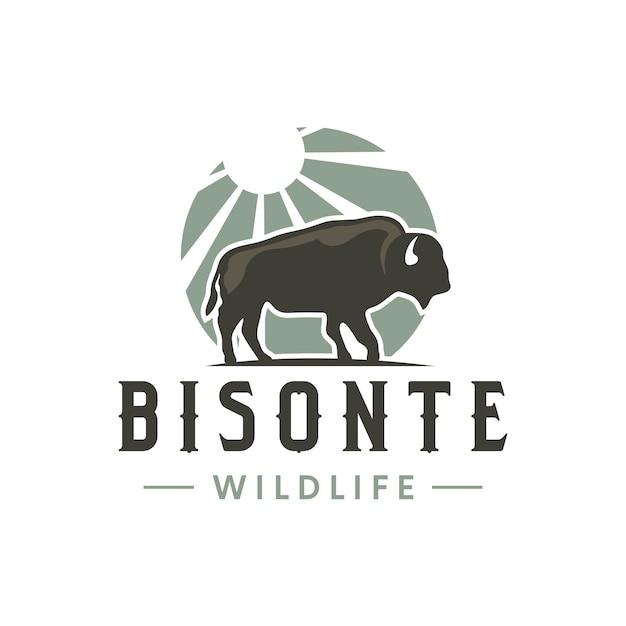 Création De Logo Vintage Bisonte Sun Vecteur Premium