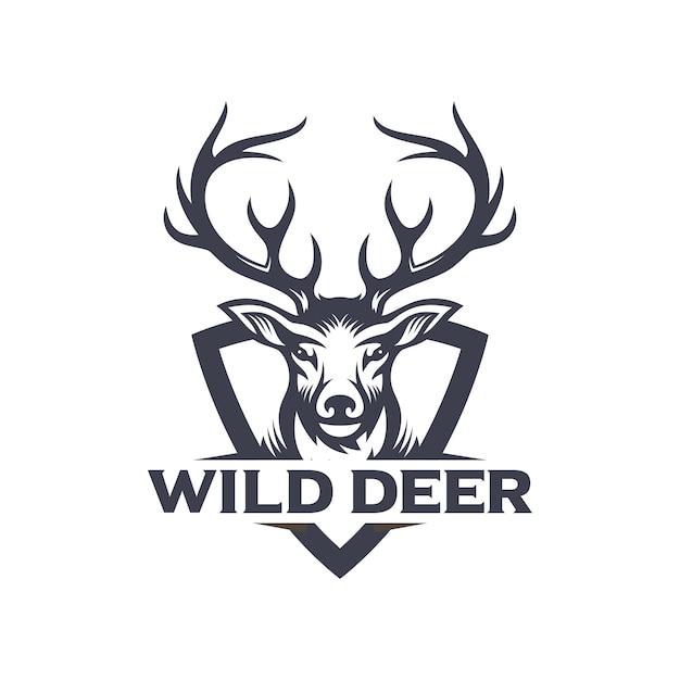 Création de logo vintage cerf chasseur Vecteur Premium