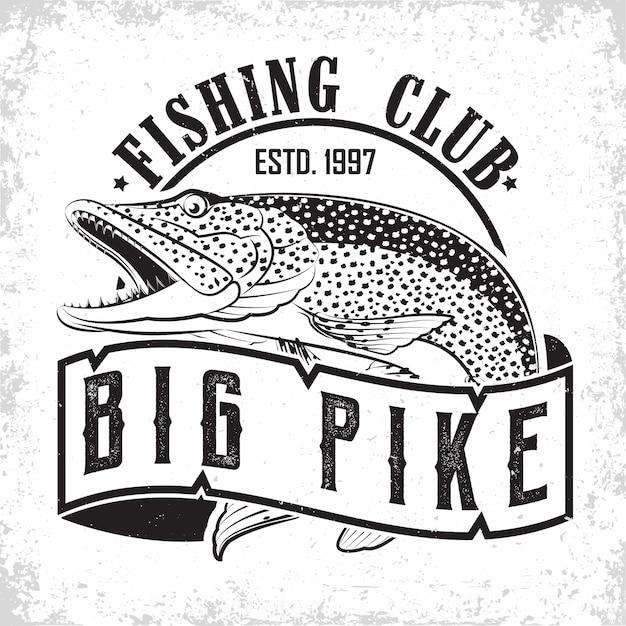 Création De Logo Vintage De Club De Pêche Vecteur Premium