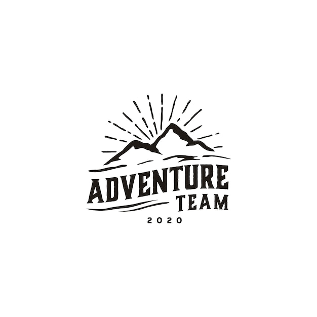 Création de logo vintage hipster retro mountain Vecteur Premium
