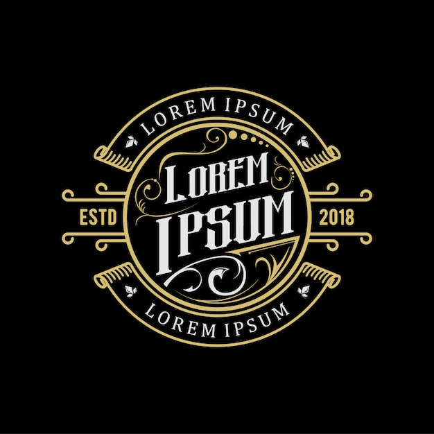 Création de logo vintage or Vecteur Premium
