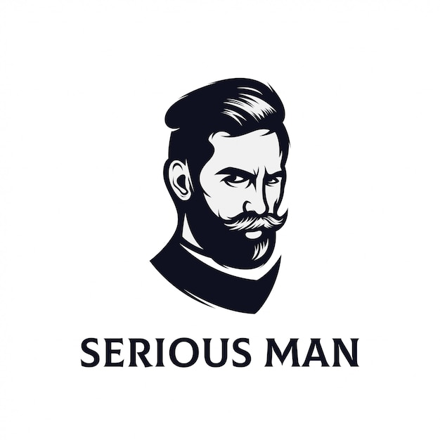 Création De Logo De Visage Sérieux Pour Les Modèles De Vecteur D'hommes Vecteur Premium