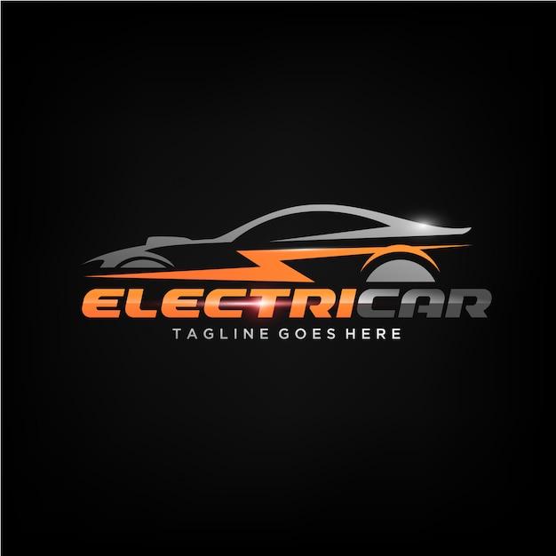 Création de logo de voiture électrique Vecteur Premium