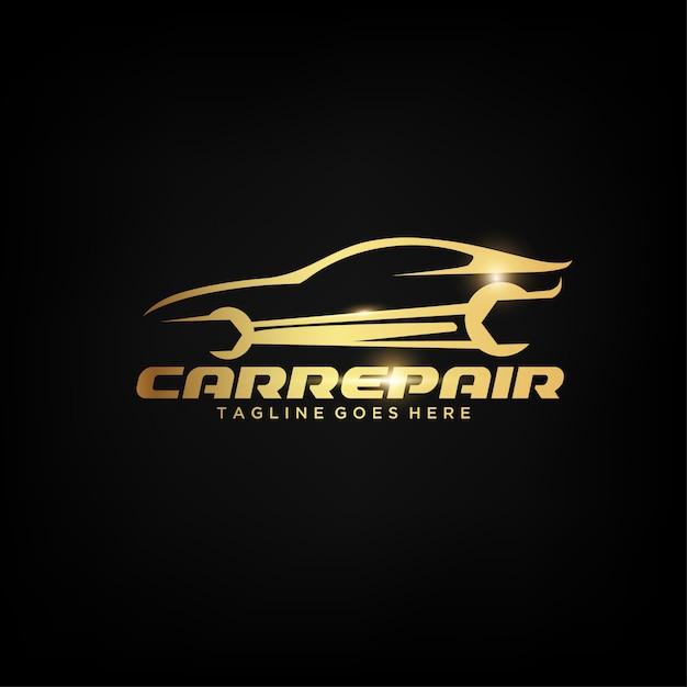 Création de logo de voiture d'or Vecteur Premium