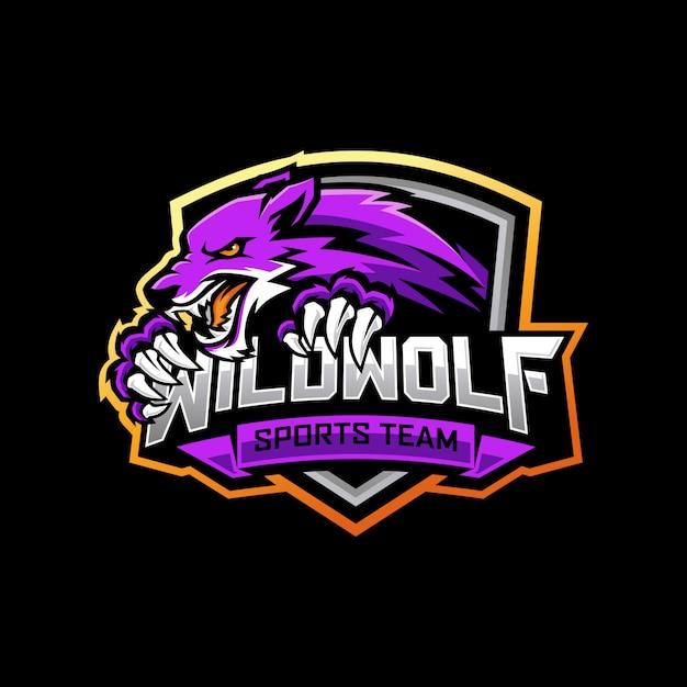 Création De Logo Wolf E-sports Vecteur Premium