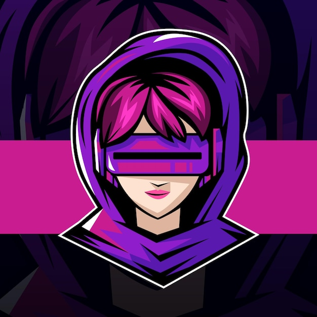 Création De Mascotte Pour Le Logo Cyber Gamer Girl Esport Vecteur Premium