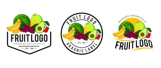 Création De Modèle De Logo De Fruits Frais Vecteur Premium