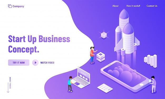 Création d'une page de destination basée sur le concept new business startup Vecteur Premium