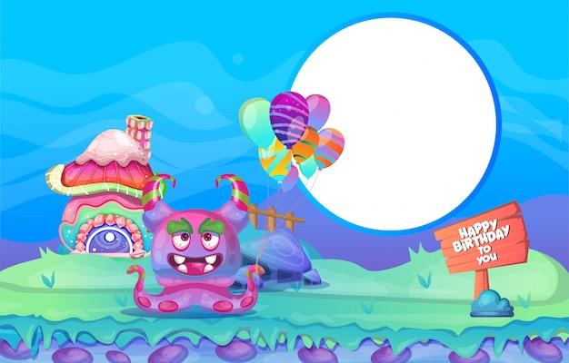 Création de personnage coloré pour le fond anniversaire Vecteur Premium