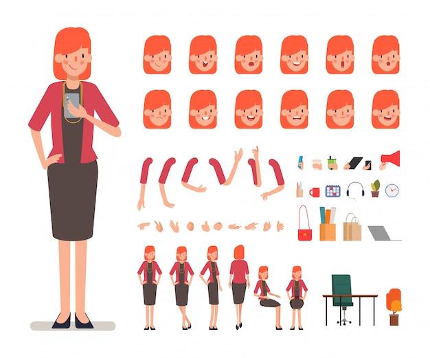 Création de personnage de femme d'affaires pour l'animation. Vecteur Premium