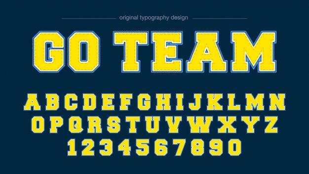 Création de typographie varsity à effet brodé Vecteur Premium